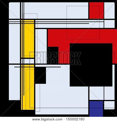 Abstract background in style of a cubism, red, blue, yellow squares