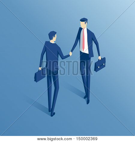 Businessmen shake hands isometric illustration business concept agreement and cooperation
