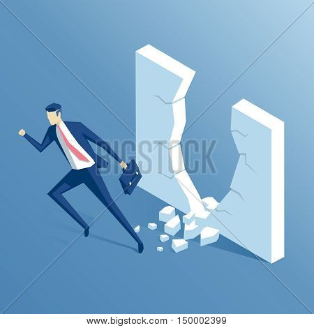 isometric businessman punches the wall the employee runs through the barrier the business concept power and success