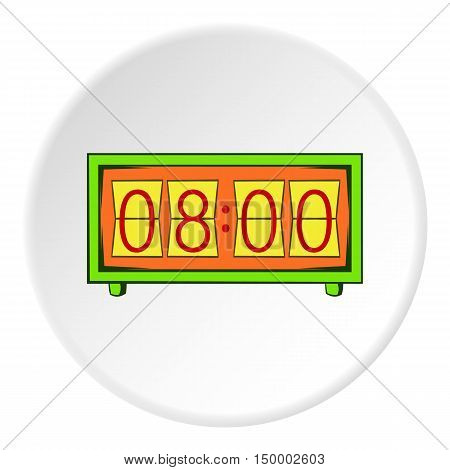 Electronic watch icon in cartoon style on white circle background. Time symbol vector illustration