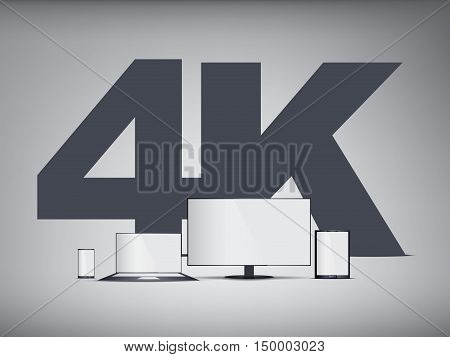 4k Tv, smartphone, laptop, tablet symbols in modern ultra hd resolution for promotion. Eps10 vector illustration.