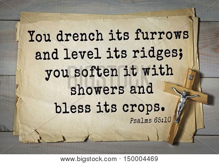 TOP-1000.  Bible verses from Psalms.You drench its furrows and level its ridges; you soften it with showers and bless its crops.
