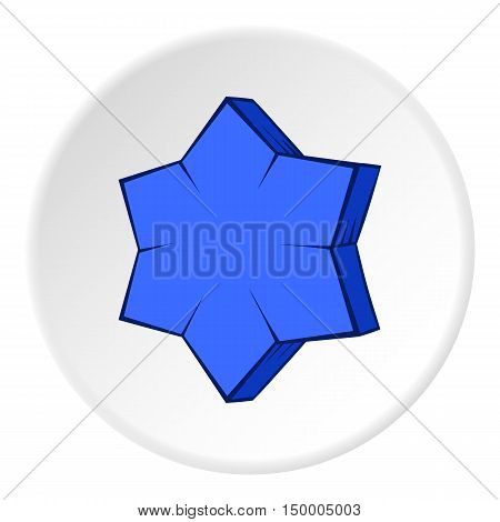 Convex star icon in cartoon style on white circle background. Figure symbol vector illustration