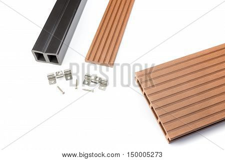 Red brown Composite decking plank with fastening material