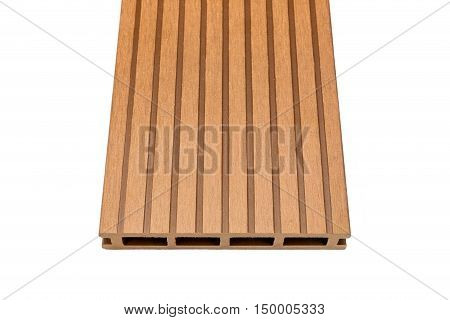 Ligneous composite decking plank isolated on white