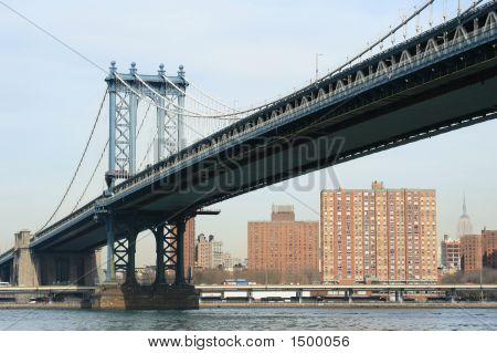 Manhattan Bridge And Manhattan Skyline