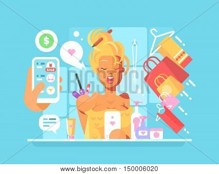 Young attractive woman shopping online stand before a mirror with towel. Vector illustration