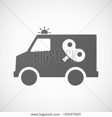 Isolated Ambulance Icon With A Toy Crank