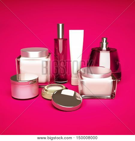 Daily beauty care cosmetic. Face cream eye cream serum and lip balm. Skin care. 3D illustration