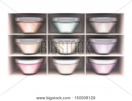 The white shelf containers with cosmetics. 3D illustration