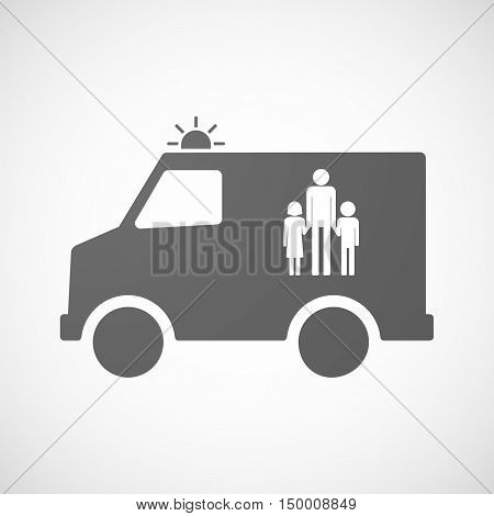 Isolated Ambulance Icon With A Male Single Parent Family Pictogram