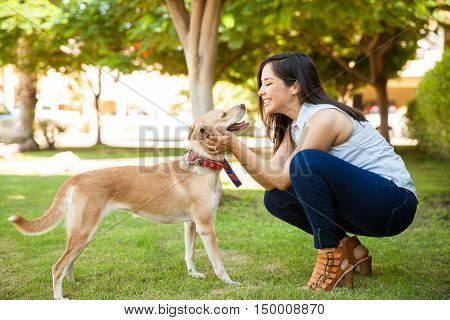 Cute Woman In Love Of Her Dog