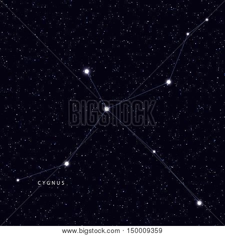 Sky Map with the name of the stars and constellations. Astronomical symbol constellation Cygnus