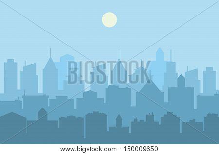 Modern City skyline . Urban landscape. Blue city silhouette. vector illustration in flat design. city landscape. Cityscape backgrounds. Daytime city skyline.