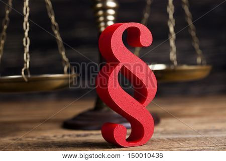 Paragraph sign, Mallet, Law, legal code of justice concept