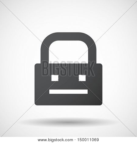 Isolated Lock Pad Icon With A Emotionless Text Face