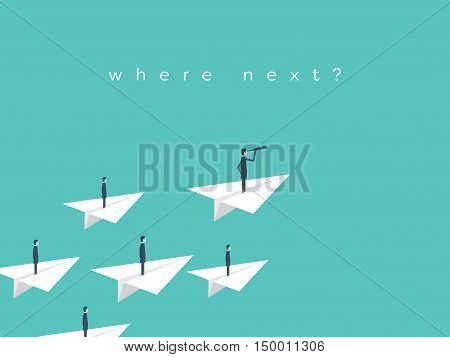 Businessman with monocular on paper plane as a symbol of business leadership. Eps10 vector illustration.