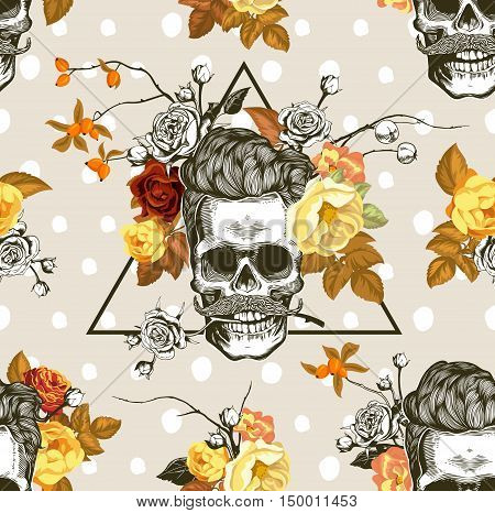 Autumn mood. Hipster seamless pattern with the skulls, autumn flowers and leaves in the background. Skull silhouette in engraving style. Vector.