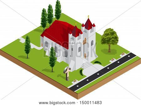 Isometric 3D christian church building vector illustration