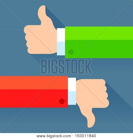 Two hands showing thumb up and thumb down signs. Flat graphics concept