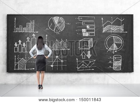 Rear view of girl looking at graphs on blackboard in room with concrete walls and floor. Concept of statistics in business management
