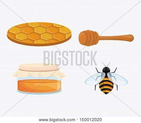 Honeycomb jar bee and stick icon. Honey healthy and organic food theme. Colorful design. Vector illustration