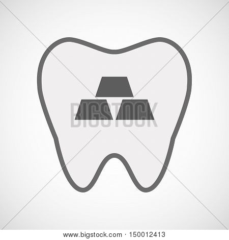Isolated Line Art Tooth Icon With Three Gold Bullions