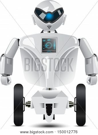 Humanoid robot on wheels isolated on white background