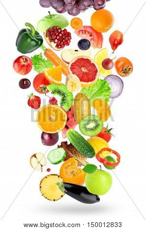 Falling of fruits and vegetables on white background. Healthy food concept