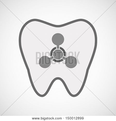 Isolated Line Art Tooth Icon With A Chemical Weapon Sign