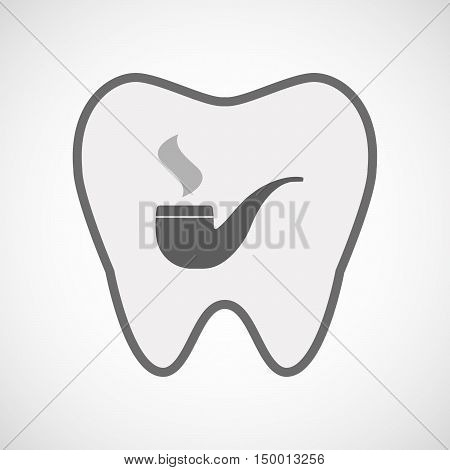 Isolated Line Art Tooth Icon With A Smoking Pipe