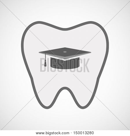 Isolated Line Art Tooth Icon With A Graduation Cap