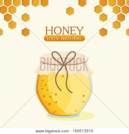 Honeycomb and jar  icon. Honey healthy and organic food theme. Colorful design. Vector illustration