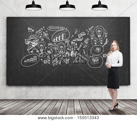 Smiling blond businesswoman standing near blackboard with business ideas on it. Concept of creativity in business
