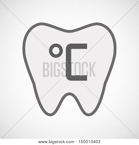 Isolated Line Art Tooth Icon With  A Celsius Degree Sign