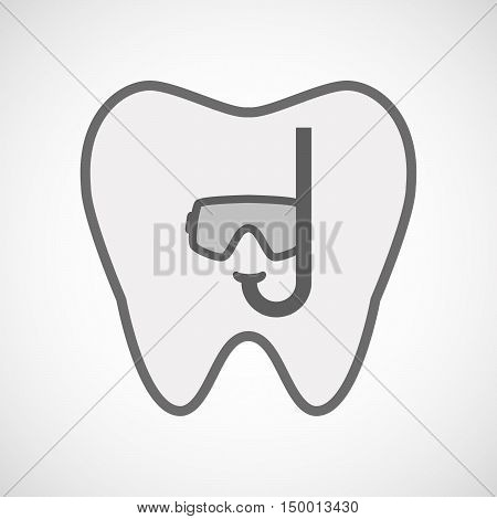 Isolated Line Art Tooth Icon With A Diving Goggles
