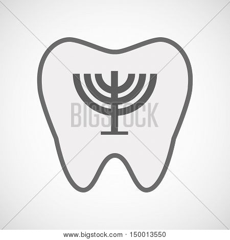 Isolated Line Art Tooth Icon With A Chandelier