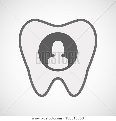 Isolated Line Art Tooth Icon With A Female Avatar