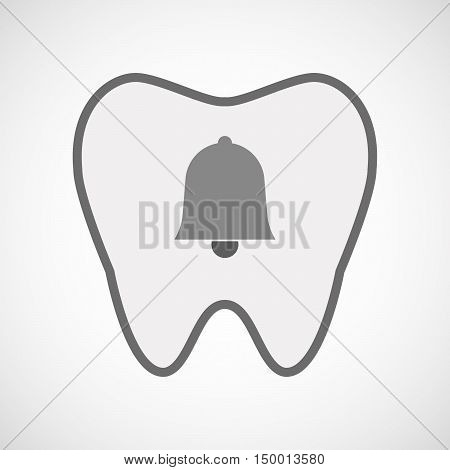 Isolated Line Art Tooth Icon With A Bell