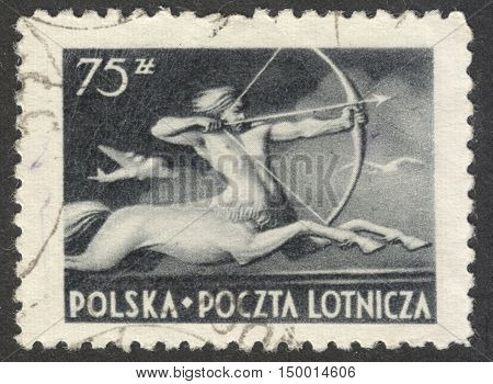 MOSCOW RUSSIA - CIRCA SEPTEMBER 2016: a post stamp printed in POLAND shows Centaur the series