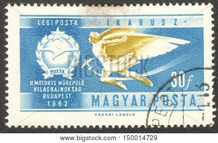 MOSCOW RUSSIA - CIRCA SEPTEMBER 2016: a stamp printed in HUNGARY shows Icarus Air the series