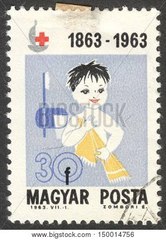 MOSCOW RUSSIA - CIRCA SEPTEMBER 2016: a stamp printed in HUNGARY shows a child the series