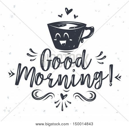 Good morning. Lettering with two cute cartoon characters. Modern calligraphy style set. Vector stock ilustration