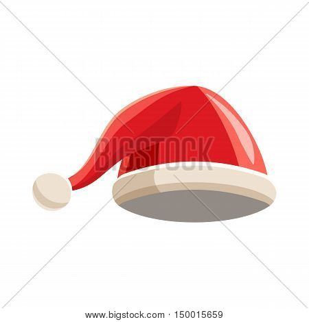 Christmas red hat with pompom icon in cartoon style isolated on white background. Headdress symbol vector illustration