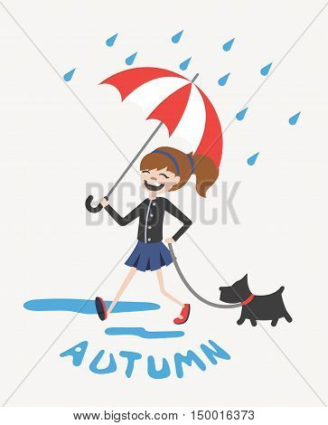 Happy cute autumn girl with umbrella and dog vector