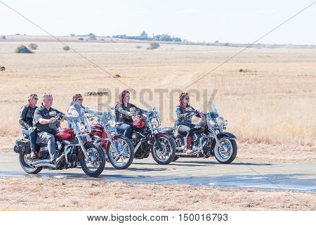 BLOEMFONTEIN SOUTH AFRICA - JULY 16 2016: Unidentified riders on motorcycles at a public display at the Tempe Airport at Bloemfontein