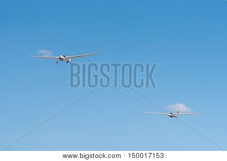 BLOEMFONTEIN SOUTH AFRICA - JULY 16 2016: A glider being pulled into the air at a public display at the Tempe Airport at Bloemfontein