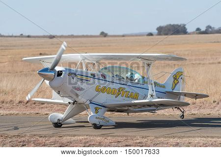 BLOEMFONTEIN SOUTH AFRICA - JULY 16 2016: A Pitts Special aircraft at a public display at the Tempe Airport at Bloemfontein
