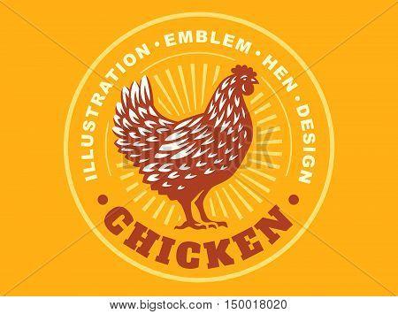 Beautiful chicken illustration emblem on yellow background