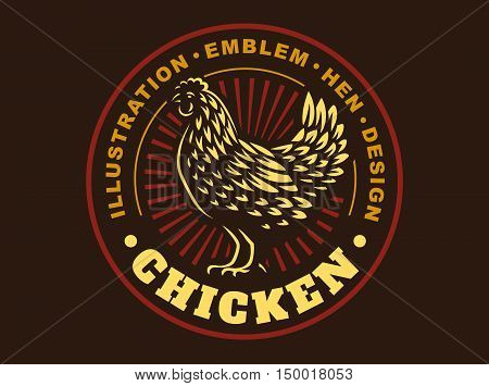 Beautiful chicken illustration emblem on dark background